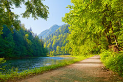 Trail in the Dunajec River Gorge. View from Slovak. Ia. Beautiful landscape. The Pieniny Mountains, Carpathians Royalty Free Stock Image
