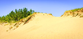Trail through the dunes. Hiking trail in Sleeping Bear Dunes National Lakeshore in Northern Michigan Royalty Free Stock Photos