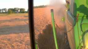 Trail of dust behind harvester. Green combine moves on field. Separate grain from straw. Machine works fast and effective stock video