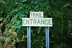 Trail Entrance Sign. A trail entrance sign to hiking Stock Images