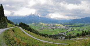Trail at the european alps saalfelden leogang Royalty Free Stock Images