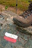 trail för kängamarkörstick Arkivfoto