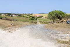 Trail and farms in Aljezur Stock Images
