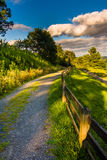 Trail and fence at Moses Cone Park, along the Blue Ridge Parkway Stock Image