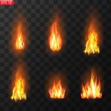 Trail of fire.Burning flames translucent elements special Effect.Realistic burning fire flames vector effect stock illustration