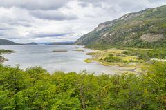 Trail, Forest and Lapataia bay,Tierra del Fuego National Park. Ushuaia, Argentina stock photography