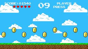 Trail of Gold Coins in a Arcade Video Game. Retro 8bit Video Game Platform Level from the 1980`s era stock video