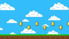 Trail of Golden Coins in a Arcade Video Game. Retro 8bit Video Game Platform Level from the 1980`s era stock illustration