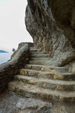 Trail Golitsyn - Falcon Path a mountain pathway carved on side of Koba-Kaya. Crimea Royalty Free Stock Images