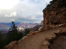 Trail in grand canyon with stunning panorama Stock Images