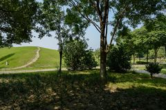 Trail on grassy ridge by cobble path behind trees in sunny summer morning. A trail on grassy slope by cobblestone path behind trees in sunny summer morning royalty free stock photos
