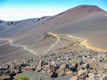 Trail in Haleakalā volcano, Maui, Hawaii Stock Images