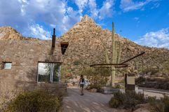 Trail head & Offiice of Pinnacle Peak Park In Scottsdale AZ. With cactus and mountain in background royalty free stock photos