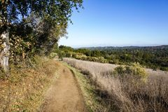 Trail in the Hills of San Francisco Bay Peninsula, California stock images