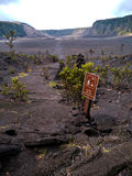 Trail Inside the Kilauea Iki Crater with tourist sign Stock Photography