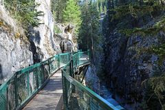 The trail in Johnston Canyon stock photography