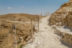 Trail in Judaean Desert in the Holy Land, Israel. Trail near the monastery of Saint George of Choziba in Judaean Desert in the Holy Land, Israel Stock Photos