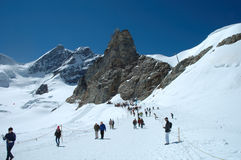 Trail on Jungfaujoch pass in Switzerland. Royalty Free Stock Images