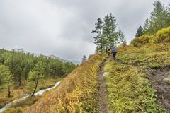 Trail in Kuiguk walley. Altai mountains autumn landscape. Trail in Kuiguk walley. Trekking in Altai mountains Stock Images