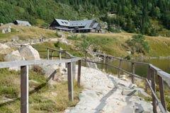 Trail at lake nearby Samotnia mountain hostel. Royalty Free Stock Photos