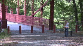 Trail leading across bridge (2 of 6). A view or scene of Parks and recreation stock footage
