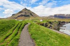 Trail leading to Icelandic village. Stock Photos