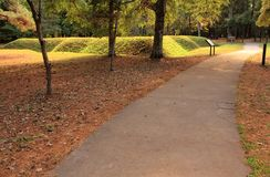Trail Leading to a Reconstructed Earthen Fort. At the Fort Raleigh National Historic Site on Roanoke Island, North Carolina Stock Image