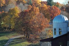 A trail leads past a white silo into the woods on a late afternoonl lat e fall day. Red, orange yellow falling leaves trees white silo with windows Stock Photography
