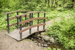 Trail leads to a small wooden bridge over a creek in the woods. Royalty Free Stock Photos