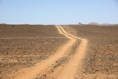 Trail in Libyan desert Royalty Free Stock Photos