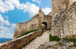 Trail and main gates of the Spis castle. Trail and path to the main gates of the Spis castle ruins on the north of Slovakia stock images