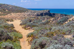 Trail in Malhao beach,  Vila Nova de Milfontes. Alentejo, Portugal Stock Photo