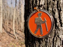 Trail Marker. Nailed to a tree on a mountain hiking trail Royalty Free Stock Photo
