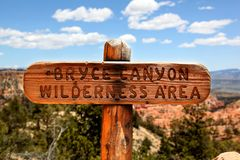 Trail Marker for Bryce Canyon Wilderness Area Stock Photo
