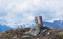 Trail marker for hikers. Italian Alps Stock Photos