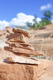 Trail marker made of stones. Royalty Free Stock Photography
