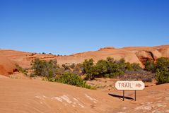 Trail Marker in Red Rock Royalty Free Stock Photography