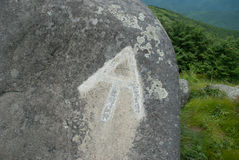 AT Trail Marker on Rock Stock Photo