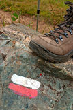 Trail Marker - Stick and Boot Stock Photo