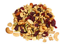 Trail Mix. Of dried cranberries, sunflower nuts, cashews, pumpkin seeds, almonds, apples Stock Image