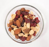 Trail mix. In a clear glass bowl Stock Photography