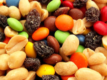 Trail mix. With nuts, chocolates and raisins stock images