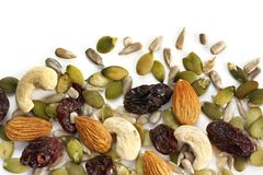 Trail Mix. Of dried fruit and nuts, isolated on white Stock Photo