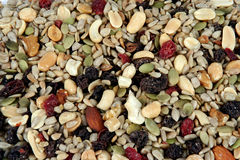 Trail Mix. Mixed nuts and dried fruit showing no part of background Royalty Free Stock Photography