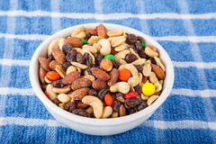 Trail Mix in Bowl on Blue Towel Stock Photos
