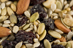 Trail Mix Closeup. Closeup of a mixture of fruits and nuts trail mix royalty free stock photo