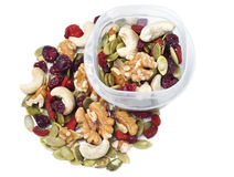 Trail mix container on white Royalty Free Stock Photo