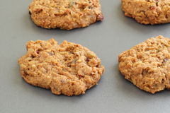 Trail mix cookies. With dried fruit, nuts and seeds on a baking sheet Royalty Free Stock Image