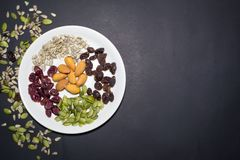 Trail mix in the dish. Royalty Free Stock Image