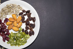 Trail mix in the dish. Stock Photography